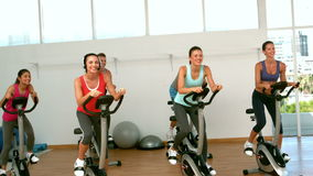 Spin class working out Stock Image