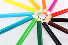 Spin of different colored pencils Stock Photography