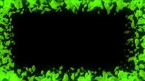 Spin of falling leaf. Green summer leaf background. Leaf confetti. CG loop animation. Beautiful pretty leaves. Natural animation. Leaf pattern on black royalty free illustration