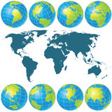 Spin Globes Collection. Vector Image Stock Images