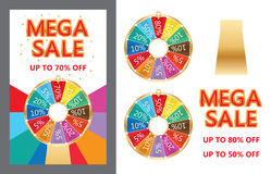 Spin lucky wheel Mega Sale set royalty free illustration