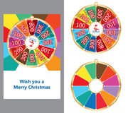 Spin lucky wheel Merry Christmas card Stock Photos