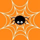 Spin op het Web Spinnewebwit Leuk het insectkarakter van de beeldverhaalbaby De gelukkige kaart van Halloween Vlak Ontwerp Oranje vector illustratie