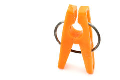 Spina di vestiti arancione Fotografia Stock