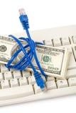 Spina e dollari del collegamento Fotografie Stock Libere da Diritti
