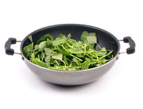 Spinach. Bunch of fresh spinach on non stick pan stock photos