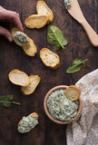 Spinach appetizer with bread Royalty Free Stock Photos