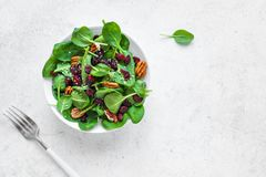 Spinach, apple salad with pecan nuts and cranberries