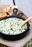Spinach and Artichoke Dip. In a cast iron skillet Royalty Free Stock Photo