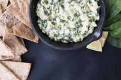 Spinach Artichoke Dip Flat Lay royalty free stock photos