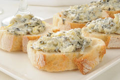 Spinach artichoke dip on Italian toast Stock Photography