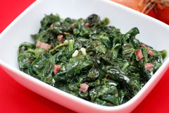 Spinach with bacon Royalty Free Stock Photos