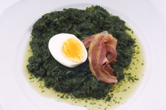 Spinach with bacon and egg Stock Image