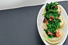 Spinach Bacon and Ravioli Royalty Free Stock Images
