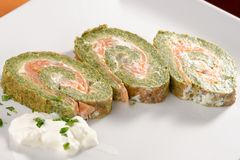 Spinach and Basil Smoked Salmon Roll Stock Image