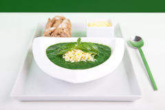 Spinach basil soup with cheese and baguette Stock Image