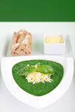 Spinach basil soup with cheese and baguette royalty free stock photos