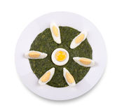Spinach with boiled egg Royalty Free Stock Photography