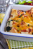 Spinach, bread and cheese strata Royalty Free Stock Photography