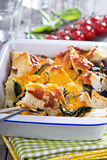 Spinach, bread and cheese strata Stock Photo