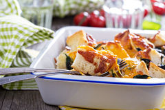 Spinach, bread and cheese strata Stock Image