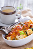 Spinach, bread and cheese strata Royalty Free Stock Photos