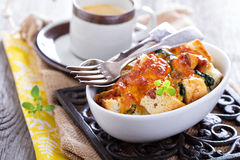 Spinach, bread and cheese strata Royalty Free Stock Images