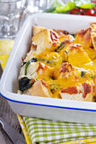 Spinach, bread and cheese strata Royalty Free Stock Photo