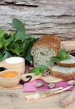 Spinach bread and fresh spinach with making baker. Stock Images