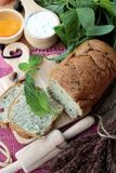 Spinach bread and fresh spinach with making baker. Stock Photo