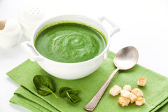 Spinach broccoli soup with croutons royalty free stock image