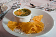 Spinach Cheee Dip and Chips Royalty Free Stock Photo