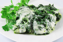 Spinach with cheese Royalty Free Stock Photos