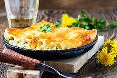 Spinach and cheese cannelloni,  Italian cuisine Stock Photos
