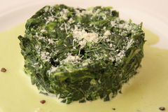 Spinach with cheese Royalty Free Stock Images