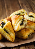Spinach and cheese puff pastries Royalty Free Stock Photography