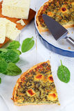 Spinach, cheese Quiche cut in slices Stock Image