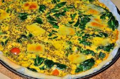 Spinach and Cheese Quiche Stock Image
