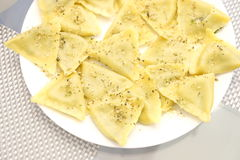 Spinach and Cheese Ravioli Stock Photos