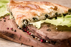 Spinach and cheese rolled up borek, Turkish traditional  meal on Stock Photography