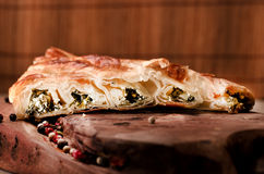 Spinach and cheese rolled up borek, Turkish traditional  meal on Stock Photos