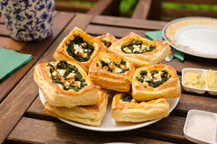 Spinach and cheese tarts. Spinach and feta cheese tarts on a plate royalty free stock photo