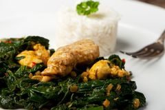 Spinach chicken dish royalty free stock image