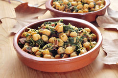 spinach with chickpeas Royalty Free Stock Image