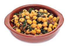 Spinach with chickpeas Royalty Free Stock Photos