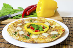 Spinach chili and pepper omelette Royalty Free Stock Photos