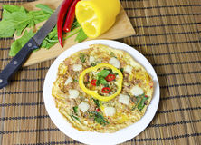 Spinach chili and pepper omelette Royalty Free Stock Images
