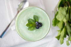 Spinach cocktail closeup on white Royalty Free Stock Images