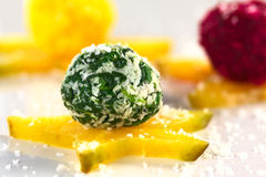 Spinach Coconut Ball Stock Photo