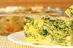 Spinach and corn pie Royalty Free Stock Image